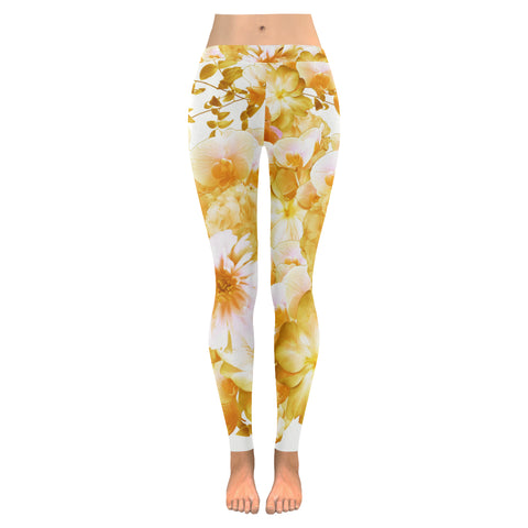 Yellow Romantic Floral Leggings