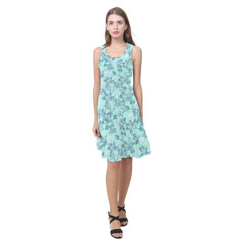 Aqua Bramble Fit and Flare Dress