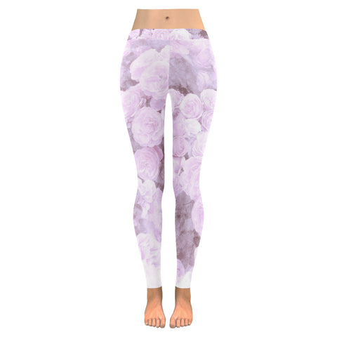 Lilac Watercolor Floral Leggings