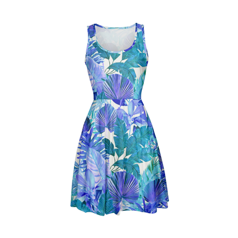 Cool Tropical Fit and Flare Dress