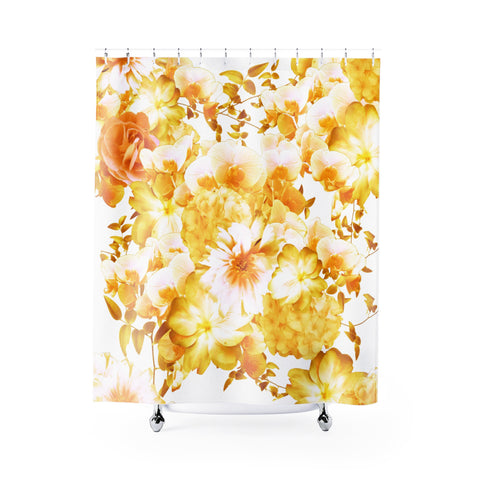 Yellow Romantic Floral Shower Curtain