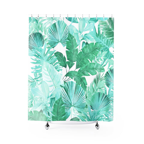 Green Tropical Shower Curtain