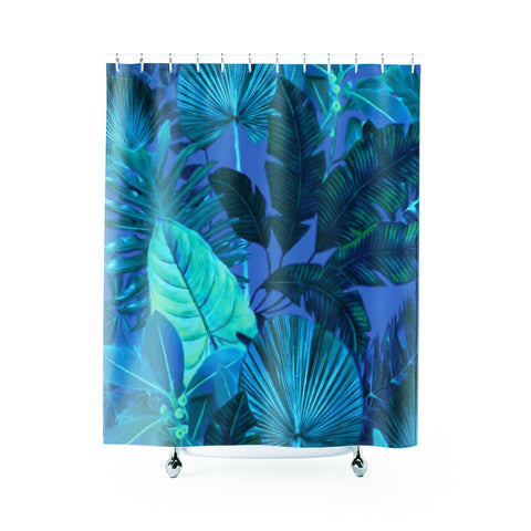Dark Cool Tropical Shower Curtain