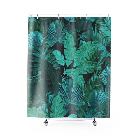Dark Green Tropical Shower Curtain