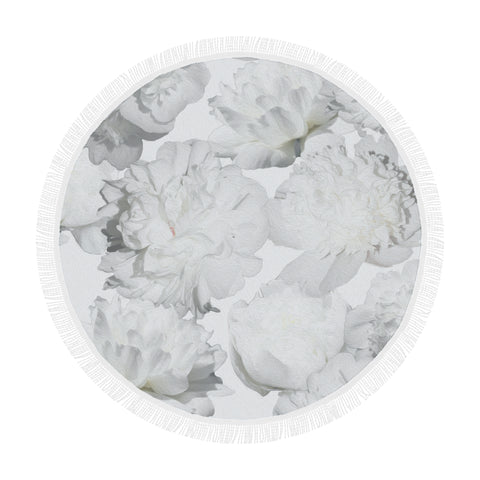 White Peonies Round Beach Blanket