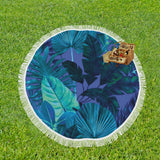 Dark Cool Tropical Round Beach Blanket