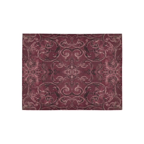 Antique Thai Pattern Burgundy Rug, Small