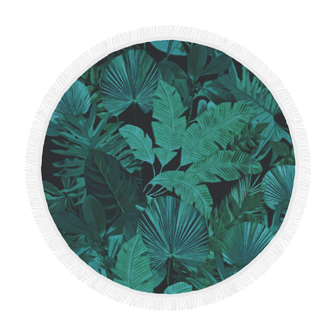 Dark Green Tropical Round Beach Blanket