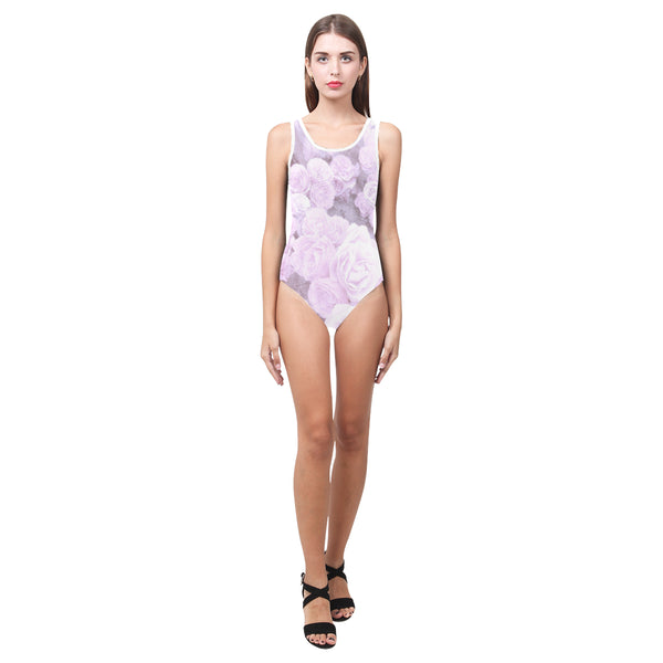 Lilac Watercolor Floral One Piece Swimsuit