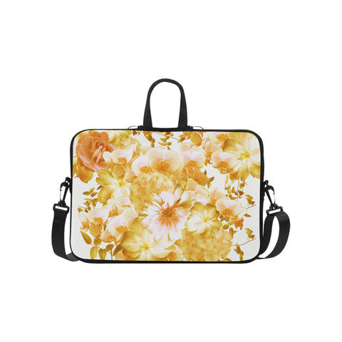 Yellow Romantic Floral Laptop Bag 15.6""