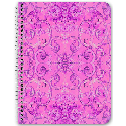 Antique Thai Pattern Pink Spiral Notebook