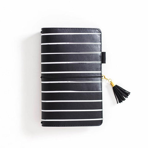 Black and White Striped Travel Journal