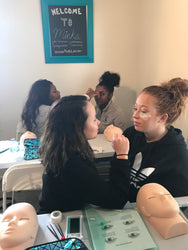 fun class sisters minks lash extensions microblading atlanta la dc baltimore philly houston dallas new york new orleans miami orlando lashes brows microshading training course instructor beauty school