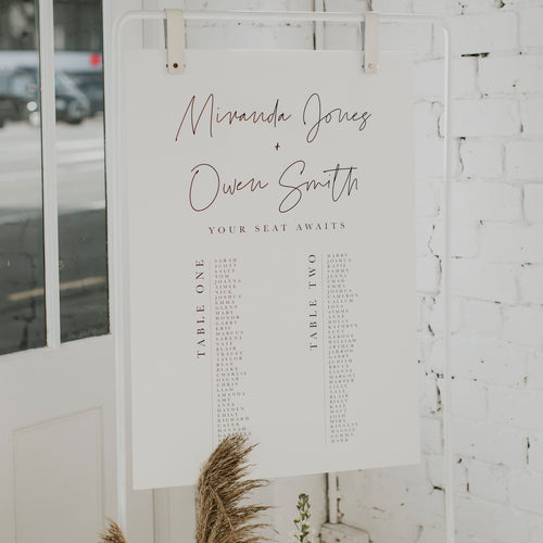 SIMPLICITY SEATING CHART WHITE