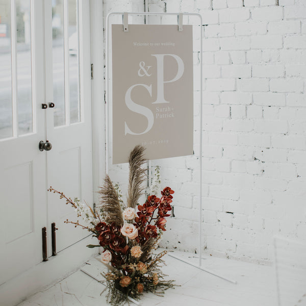 WHITE SIGNAGE STAND - HIRE