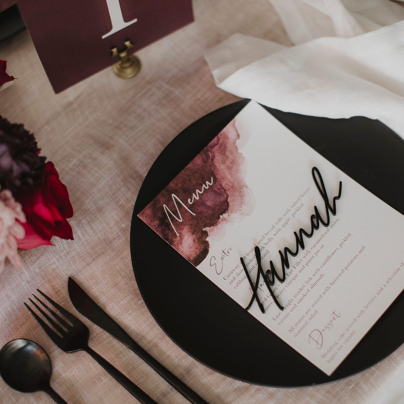 WATERCOLOUR WEDDING MENU PINK