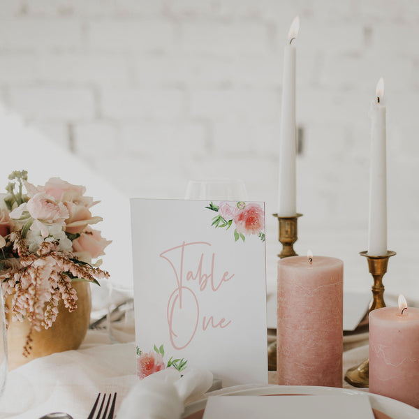 PRETTY IN PINK TABLE NUMBER