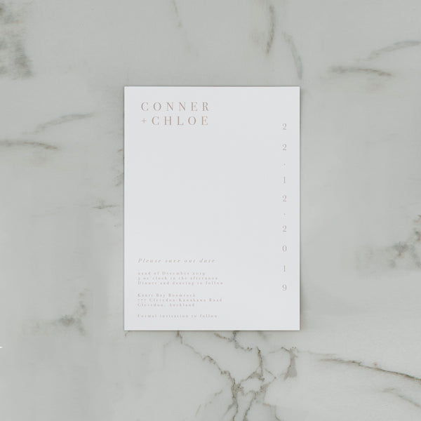 MINIMALIST SAVE THE DATE WHITE