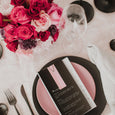 MINIMALIST WEDDING MENU & PLACE NAME SET PINK/BLACK