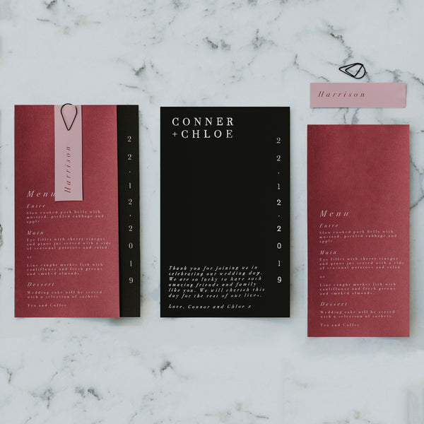 MINIMALIST WEDDING MENU & PLACE NAME SET BURGUNDY