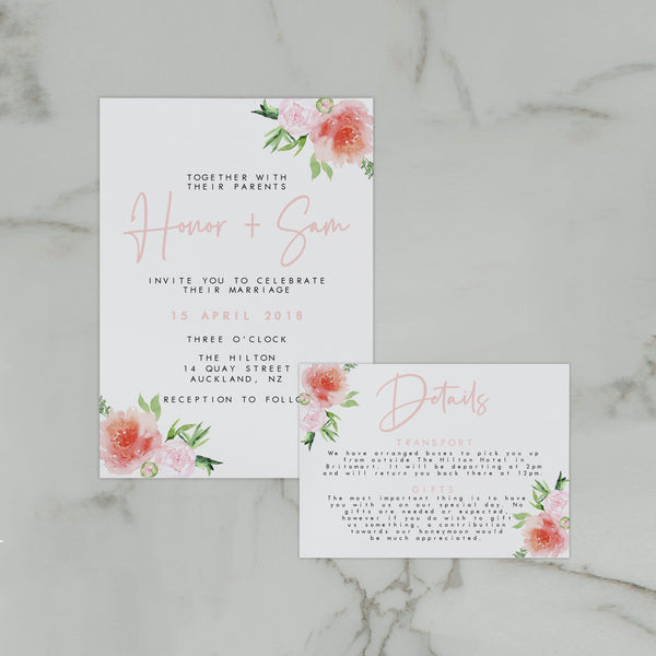 PRETTY IN PINK WEDDING INVITE/INFORMATION SET
