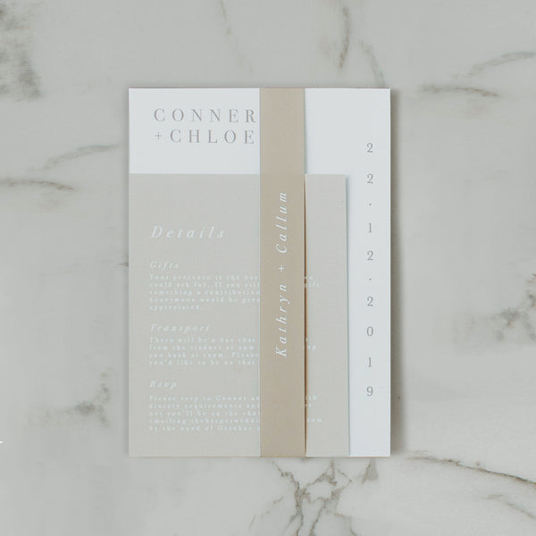 MINIMALIST WEDDING INVITE SET NATURAL
