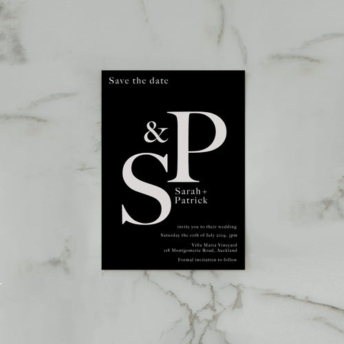 INITIAL SAVE THE DATE BLACK