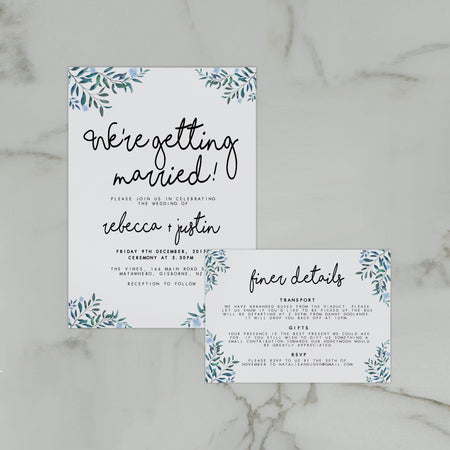 CALLIGRAPHY WEDDING MENU WHITE