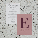 NEW YORK WEDDING MENU & PLACE NAME SET PURPLE