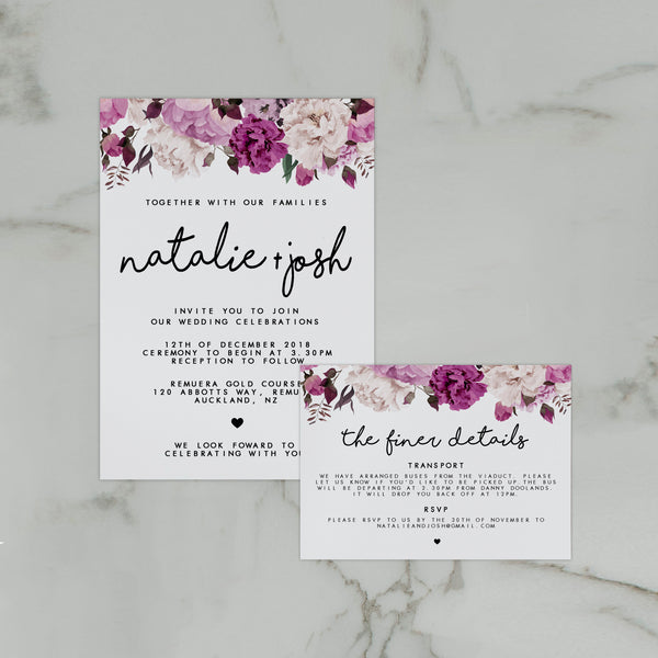 VINTAGE FLORAL WEDDING INVITE/INFORMATION SET