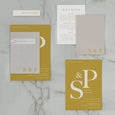 INITIAL WEDDING INVITE SET MUSTARD