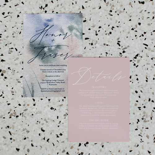 PAINTED WATERCOLOUR WEDDING INVITE/INFORMATION SET PINK