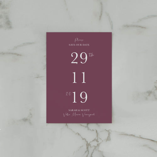 WATERCOLOUR SAVE THE DATE BURGUNDY