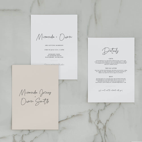 SIMPLICITY WEDDING INVITE/INFORMATION SET NATURAL