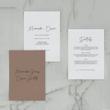 SIMPLICITY WEDDING INVITE/INFORMATION SET BROWN
