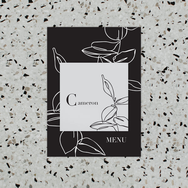 NOIR WEDDING MENU & PLACE NAME SET