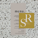 INITIAL WEDDING MENU & PLACE NAME SET MUSTARD