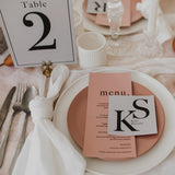 INITIAL WEDDING MENU & PLACE NAME SET PINK