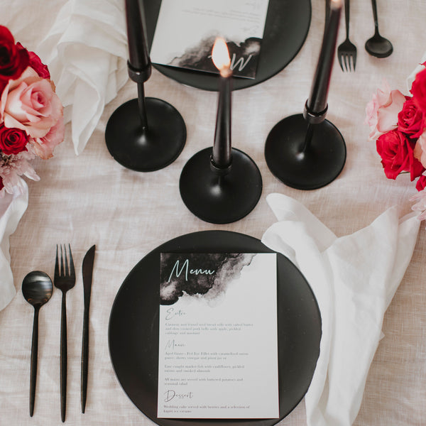 WATERCOLOUR WEDDING MENU BLACK
