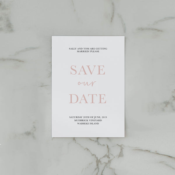 TROPICS SAVE THE DATE WHITE
