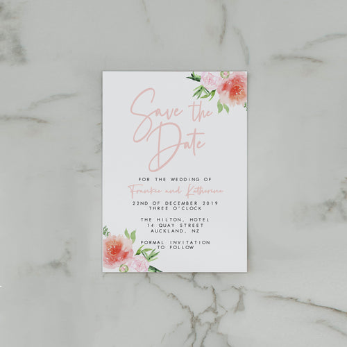 PRETTY IN PINK SAVE THE DATE