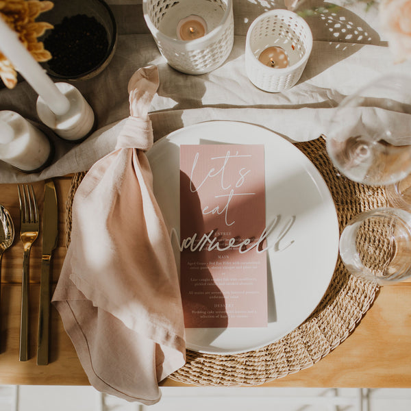 CALLIGRAPHY WEDDING MENU PINK