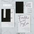 CALLIGRAPHY WEDDING INVITE SET BLACK / WHITE
