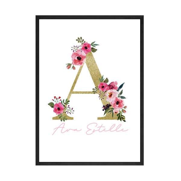 CUSTOM FLORAL ALPHABET KIDS PRINT