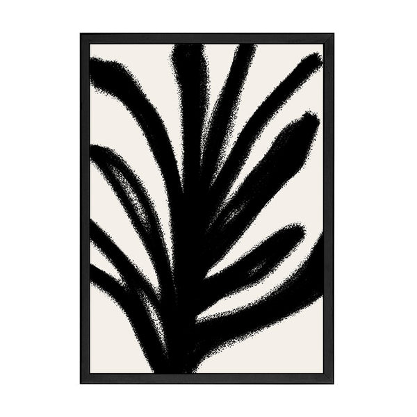 ABSTRACT LEAF PRINT BLACK
