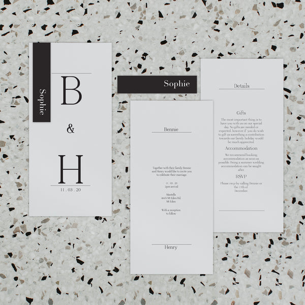 BRANDY WEDDING INVITE SET BLACK / WHITE