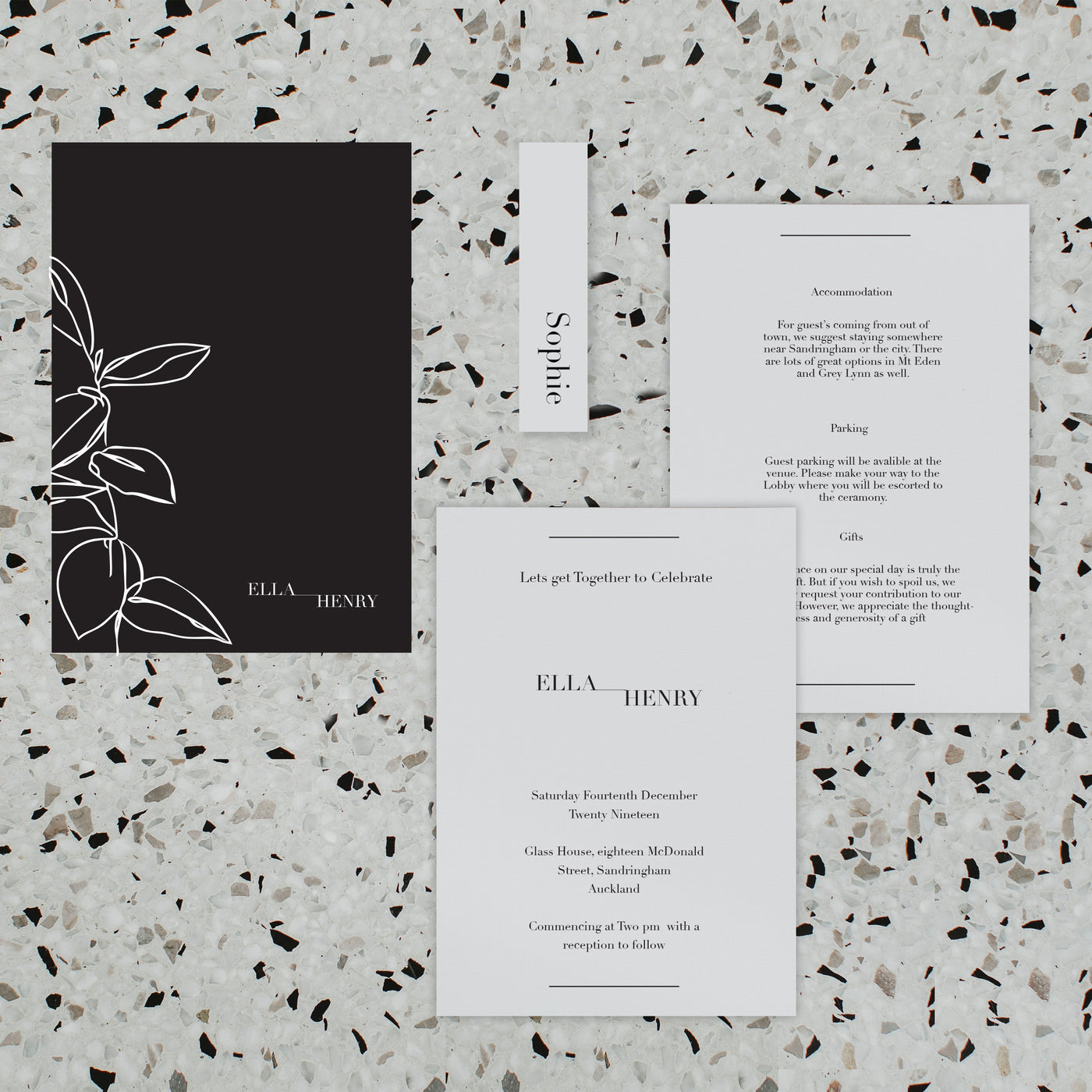 NOIR WEDDING INVITE SET BLACK / WHITE