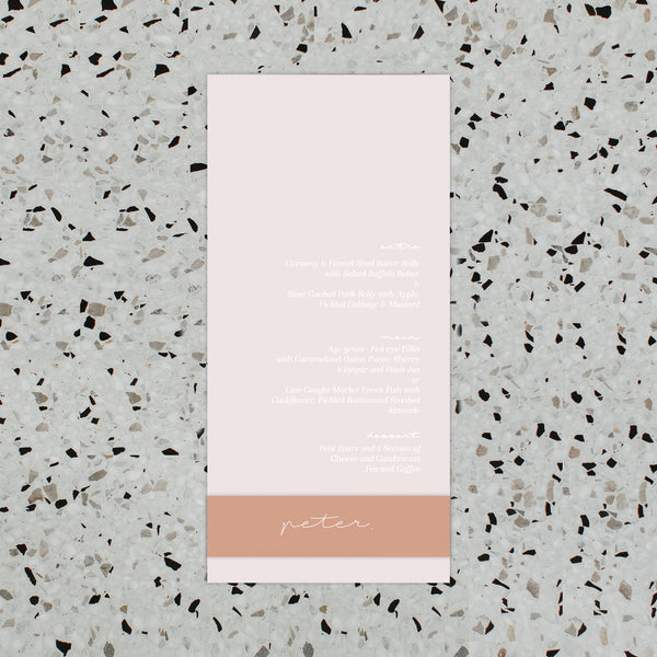 PEACH DREAMS WEDDING MENU & PLACE NAME SET