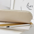 Embossed leather pencil case nude