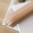 Embossed leather pencil case pink
